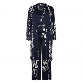BEIGE LABEL SATIN THREE-PIECE TROUSER ENSEMBLE NAVY - Plus Size Collection