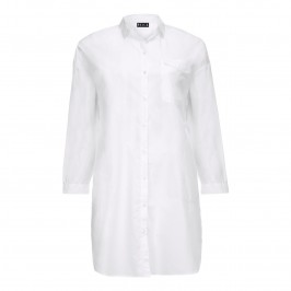 BEIGE long white cotton OVERSHIRT - Plus Size Collection