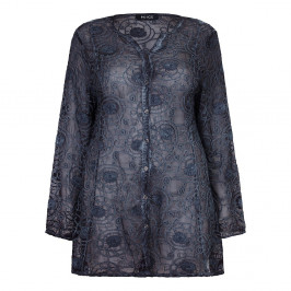 BEIGE sheer silk embroidered graphite SHIRT - Plus Size Collection