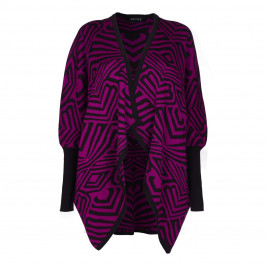 BEIGE LABEL MAGENTA PONCHO WITH ABSTRACT INTARSIA PATTERN  - Plus Size Collection