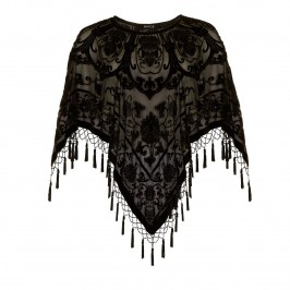 BEIGE SHEER SILK BEADED PONCHO IN BLACK - Plus Size Collection