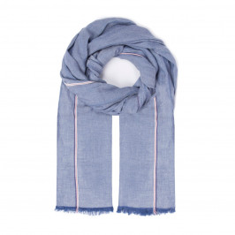 PURE COTTON SCARF WITH STRIPE AND FRAYED EDGE - Plus Size Collection