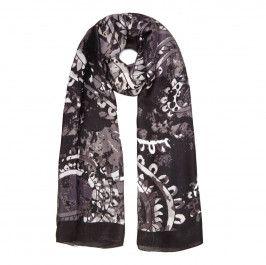 BEIGE LABEL BLACK FLORAL PRINT SCARF - Plus Size Collection