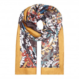 BEIGE LABEL SILK MIX SCARF WITH FLORAL PRINT  - Plus Size Collection