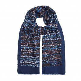 BEIGE LABEL MIX BLUE SCARF WITH TETRIS PRINT - Plus Size Collection