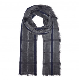 BEIGE LABEL BLACK CHECK SCARF WITH FRINGED HEM - Plus Size Collection