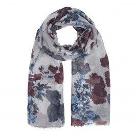 BEIGE LABEL RED AND BLUE FLORAL PRINT SCARF - Plus Size Collection
