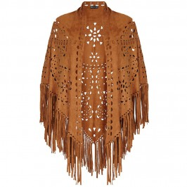 BEIGE fringed laser cut tan SHAWL - Plus Size Collection