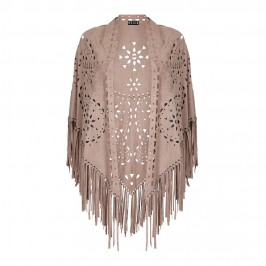 BEIGE fringed laser cut truffle SHAWL - Plus Size Collection
