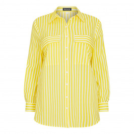 BEIGE LABEL YELLOW AND WHITE STRIPE COTTON SHIRT - Plus Size Collection