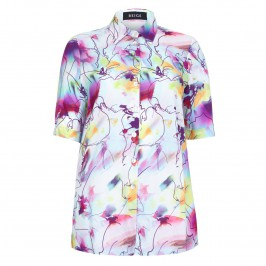 Beige short sleeved abstract pink print SHIRT - Plus Size Collection