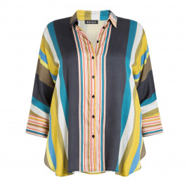 BEIGE LABEL STRIPE SATIN SHIRT - Plus Size Collection
