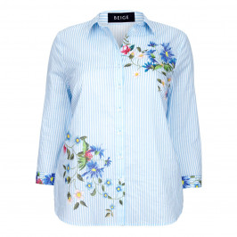 BEIGE LABEL BLUE FLORAL MOTIF COTTON SHIRT WITH STRIPES - Plus Size Collection