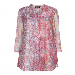 Beige Label pink cotton voile paisley print shirt  - Plus Size Collection