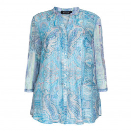 Beige Label turquoise cotton voile paisley print shirt  - Plus Size Collection