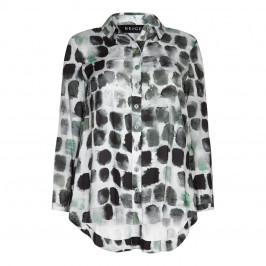 BEIGE label green tile print classic SHIRT - Plus Size Collection