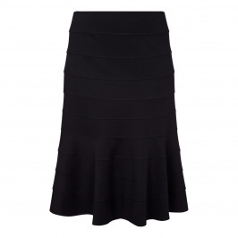 BEIGE LABEL BLACK STRETCH JERSEY TIERED SKIRT  - Plus Size Collection