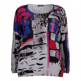 BEIGE LABEL ABSTRACT PRINT SWEATER - Plus Size Collection