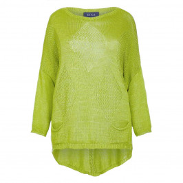 BEIGE LABEL GREEN LOOSE STITCH KNITTED SWEATER  - Plus Size Collection