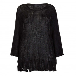 BEIGE LABEL BLACK KNITTED SWEATER WITH FRINGED HEM  - Plus Size Collection