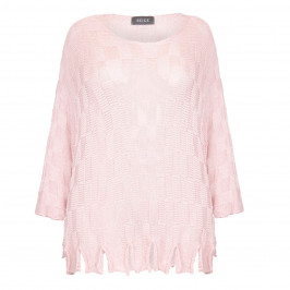 BEIGE LABEL PINK KNITTED SWEATER WITH FRINGED HEM  - Plus Size Collection