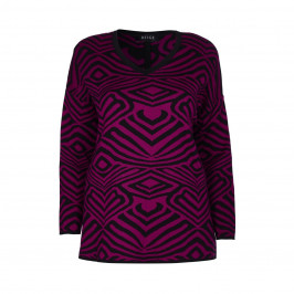 BEIGE LABEL MAGENTA SWEATER WITH ABSTRACT INTARSIA PATTERN  - Plus Size Collection