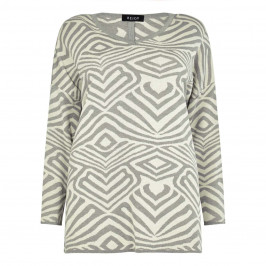 BEIGE LABEL ABSTRACT INTARSIA SWEATER - Plus Size Collection