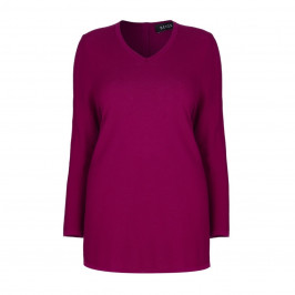 BEIGE LABEL V-NECK MAGENTA SWEATER WITH BUTTON DETAIL  - Plus Size Collection