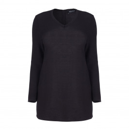 BEIGE LABEL V-NECK BLACK SWEATER WITH BUTTON DETAIL  - Plus Size Collection