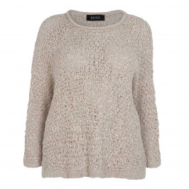 BEIGE LABEL RIBBON KNIT SWEATER SAND - Plus Size Collection