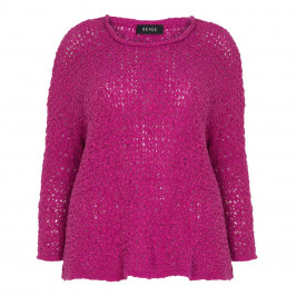 BEIGE LABEL RIBBON KNIT SWEATER FUCHSIA - Plus Size Collection