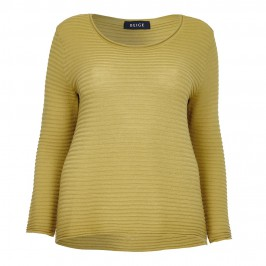 BEIGE HORIZONTAL RIB MERINO WOOL SWEATER IN CHARTREUSE GREEN - Plus Size Collection