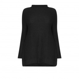 BEIGE LABEL BLACK PURE WOOL KNITTED SWEATER - Plus Size Collection