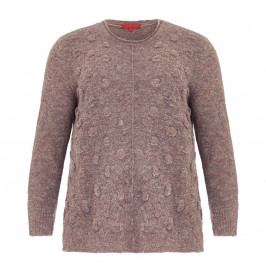 VETONO BUBBLE TEXTURE SWEATER TAUPE - Plus Size Collection