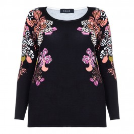 BEIGE FLORAL PRINT EMBELLISHED SWEATER - Plus Size Collection