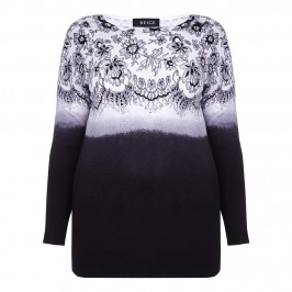 BEIGE LACE PRINT SWEATER IN BLACK & WHITE - Plus Size Collection
