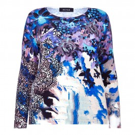 BEIGE PRINT SWEATER IN BLUE AND PURPLE TONES - Plus Size Collection