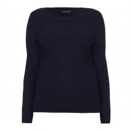 BEIGE LABEL NAVY HONEYCOMB SWEATER - Plus Size Collection