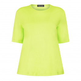 BEIGE LABEL SCOOP NECK T-SHIRT LIME - Plus Size Collection