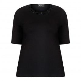 BEIGE LABEL T-SHIRT WITH PLAITED DIAMANTE NECKLINE BLACK - Plus Size Collection