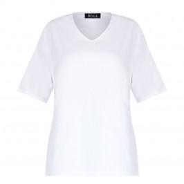 BEIGE COTTON T-SHIRT V-NECK WHITE  - Plus Size Collection