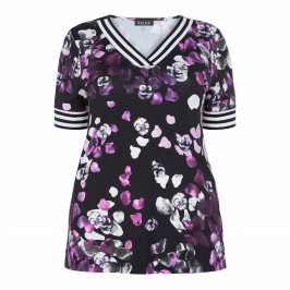 BEIGE LABEL PANSY PRINT T-SHIRT - Plus Size Collection