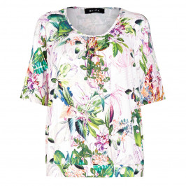 BEIGE TROPICAL PRINT STRETCH JERSEY TOP - Plus Size Collection
