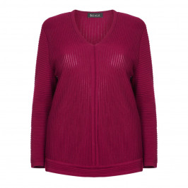 BEIGE LABEL V-NECK SWEATER BURGUNDY - Plus Size Collection