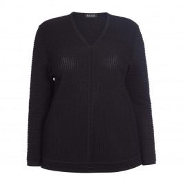 BEIGE LABEL V-NECK SWEATER BLACK - Plus Size Collection