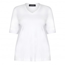 BEIGE LABEL STRETCH JERSEY V NECK T-SHIRT WHITE  - Plus Size Collection