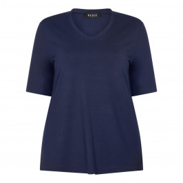 BEIGE LABEL STRETCH JERSEY V NECK T-SHIRT NAVY - Plus Size Collection