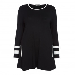BEIGE LABEL BLACK TUNIC WITH WHITE CUFF - Plus Size Collection
