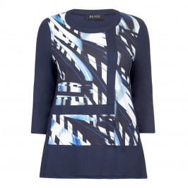 BEIGE LABEL NAVY PRINT TOP  - Plus Size Collection