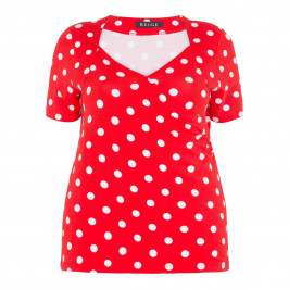 BEIGE LABEL CROSS-OVER POLKA DOT TOP RED - Plus Size Collection